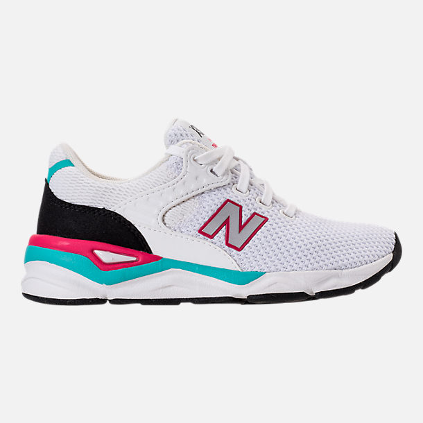 Right view of Kids' Grade School New Balance X-90 Casual Shoes in White/Teal