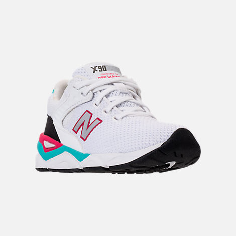 Three Quarter view of Big Kids' New Balance X-90 Casual Shoes in White/Teal