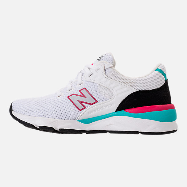 Left view of Big Kids' New Balance X-90 Casual Shoes in White/Teal