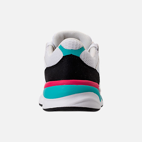 Back view of Big Kids' New Balance X-90 Casual Shoes in White/Teal