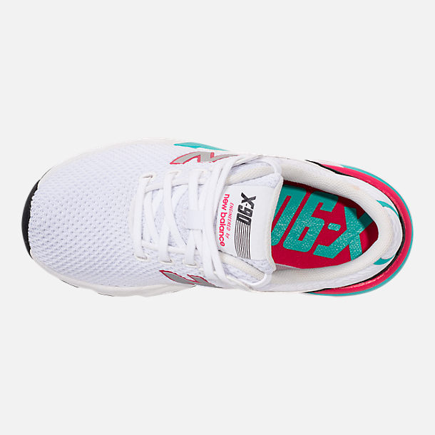 Top view of Kids' Grade School New Balance X-90 Casual Shoes in White/Teal