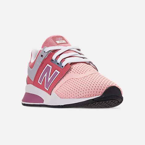 Three Quarter view of Girls' Little Kids' New Balance 247 Casual Shoes in Himalayan Pink/White