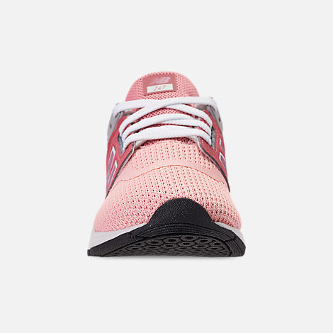 Front view of Girls' Little Kids' New Balance 247 Casual Shoes in Himalayan Pink/White