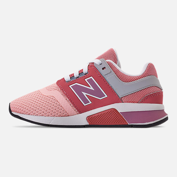 Left view of Girls' Little Kids' New Balance 247 Casual Shoes in Himalayan Pink/White