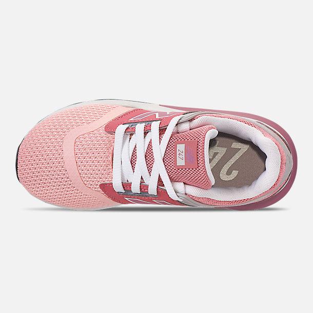Top view of Girls' Little Kids' New Balance 247 Casual Shoes in Himalayan Pink/White