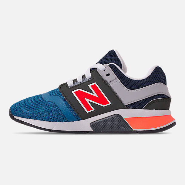 Left view of Boys' Preschool New Balance 247 Casual Shoes in Light Blue/Flame