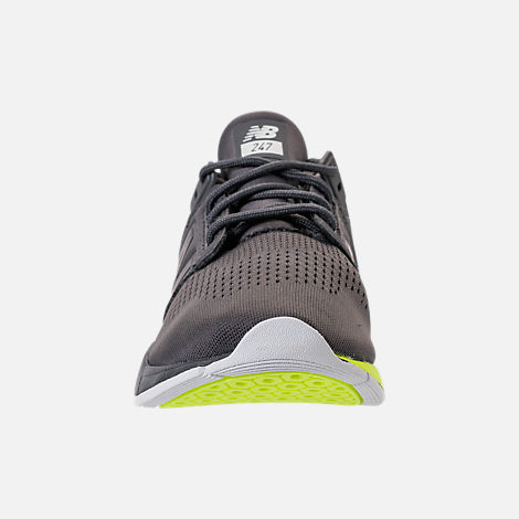 Front view of Boys' Big Kids' New Balance 247 Casual Shoes in Magnet/Solar Yellow