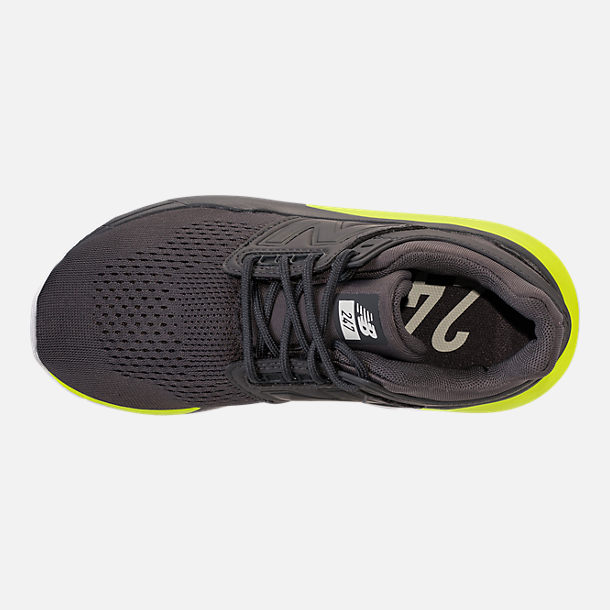 Top view of Boys' Big Kids' New Balance 247 Casual Shoes in Magnet/Solar Yellow