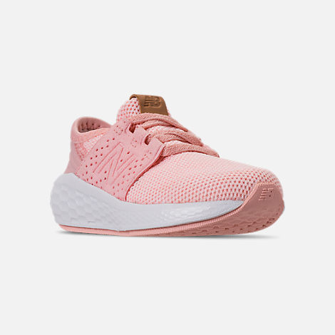 Three Quarter view of Girls' Toddler New Balance Cruz Sport Running Shoes in Pink