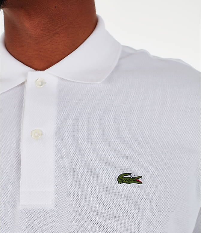 Detail 1 view of Men's Lacoste Classic Pique Polo Long-Sleeve Shirt in White