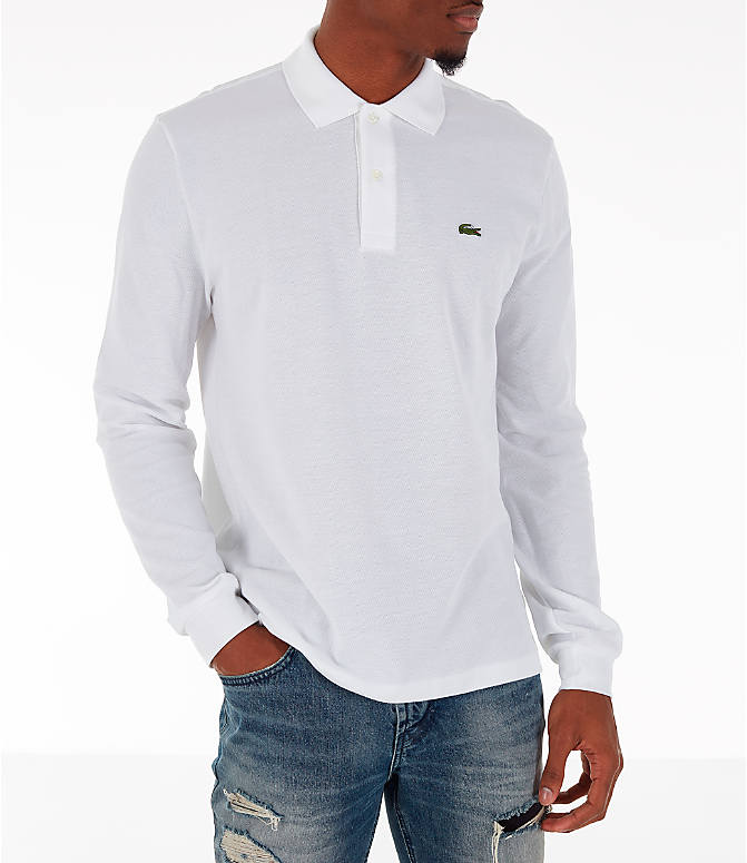 Front view of Men's Lacoste Classic Pique Polo Long-Sleeve Shirt in White