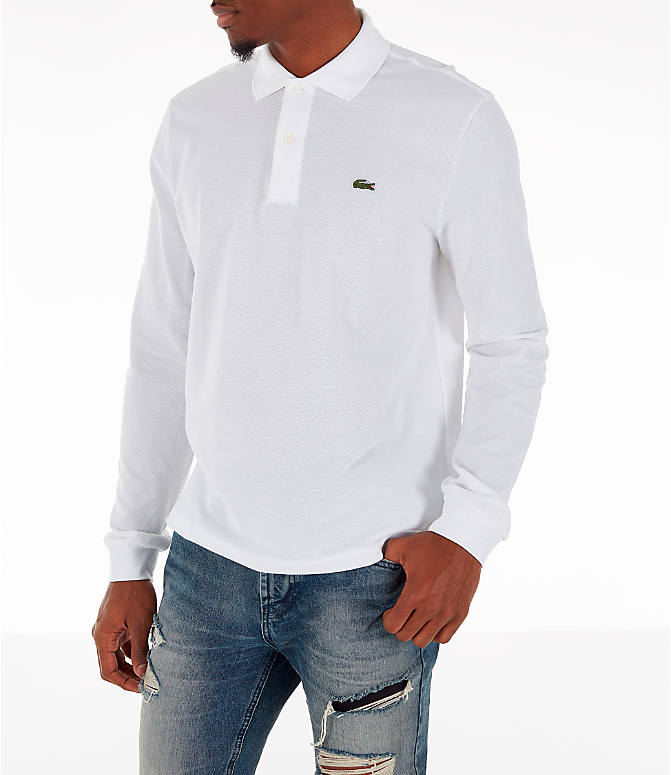 Front Three Quarter view of Men's Lacoste Classic Pique Polo Long-Sleeve Shirt in White