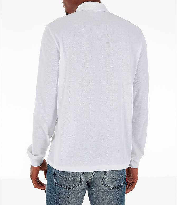 Back Left view of Men's Lacoste Classic Pique Polo Long-Sleeve Shirt in White