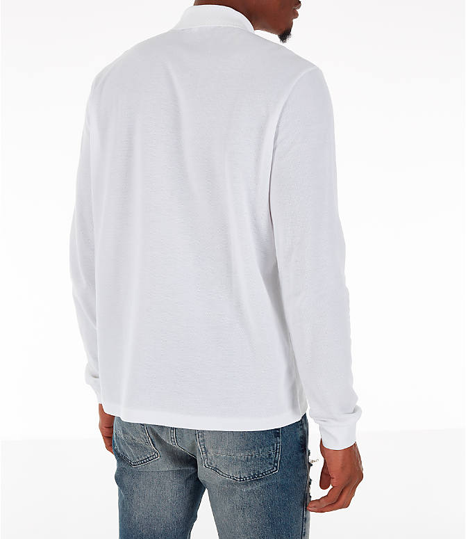 Back Right view of Men's Lacoste Classic Pique Polo Long-Sleeve Shirt in White