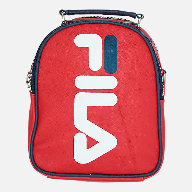 Front view of Fila Soho Mini Backpack in Chinese Red/Peacoat/White