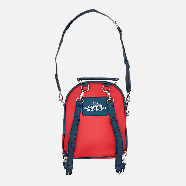 Back view of Fila Soho Mini Backpack in Chinese Red/Peacoat/White