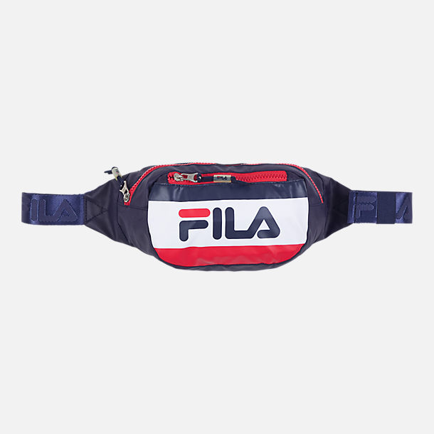 Front view of Fila Hunts Logo Waist Bag in Peacoat/Chinese Red/White