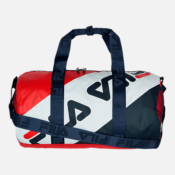 Front view of FILA Bexley Barrel Duffel Bag in Navy/White/Red