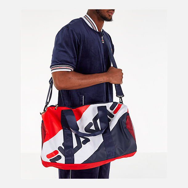 Alternate view of FILA Bexley Barrel Duffel Bag in Navy/White/Red