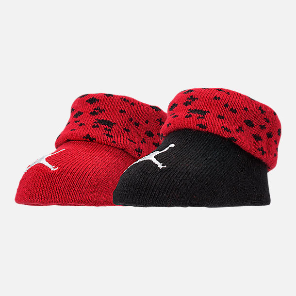 Front view of Infant Jordan Cement Cuff Booties in Red/Black