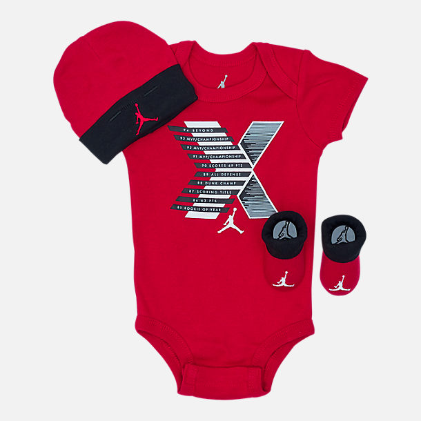 Front view of Infant Air Jordan Retro 10 Stats 3-Piece Set in Red/Black