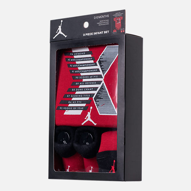 Back view of Infant Air Jordan Retro 10 Stats 3-Piece Set in Red/Black