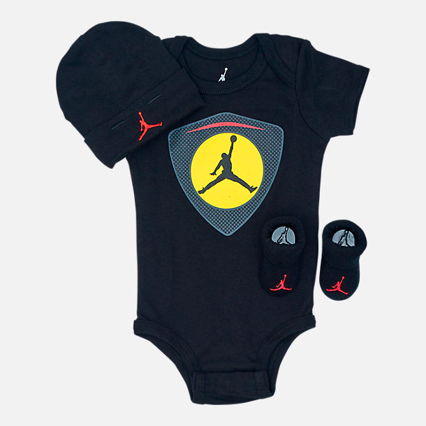 Front view of Infant Air Jordan Retro 14 Emblem 3-Piece Set in Black