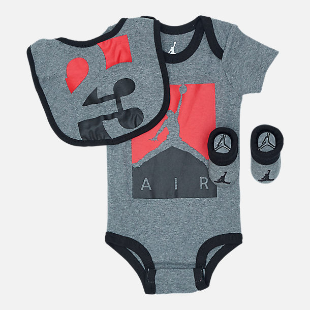 Front view of Infant Air Jordan Racked Up 23 3-Piece Set in Grey/Black/Red