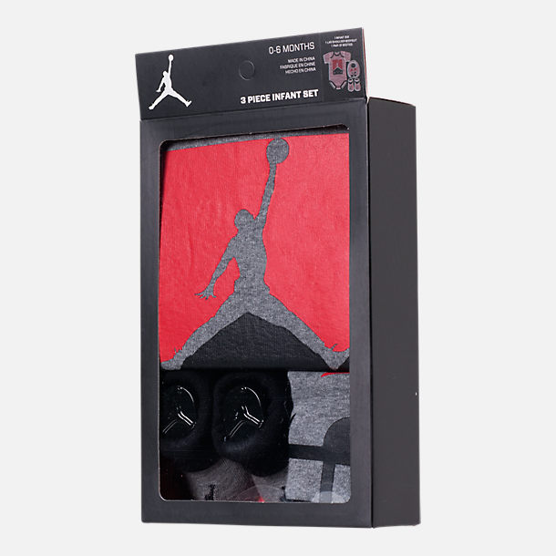 Back view of Infant Air Jordan Racked Up 23 3-Piece Set in Grey/Black/Red