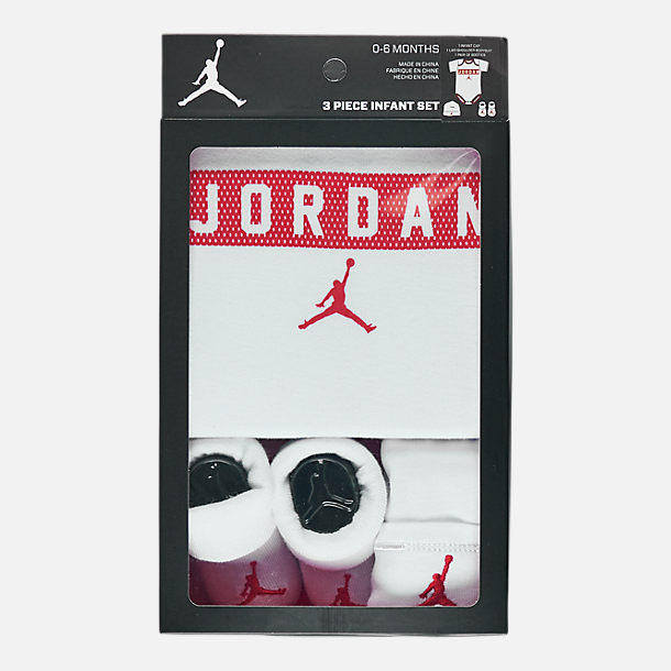 Back view of Infant Air Jordan Jersey Bodysuit 3-Piece Box Set in White/Red