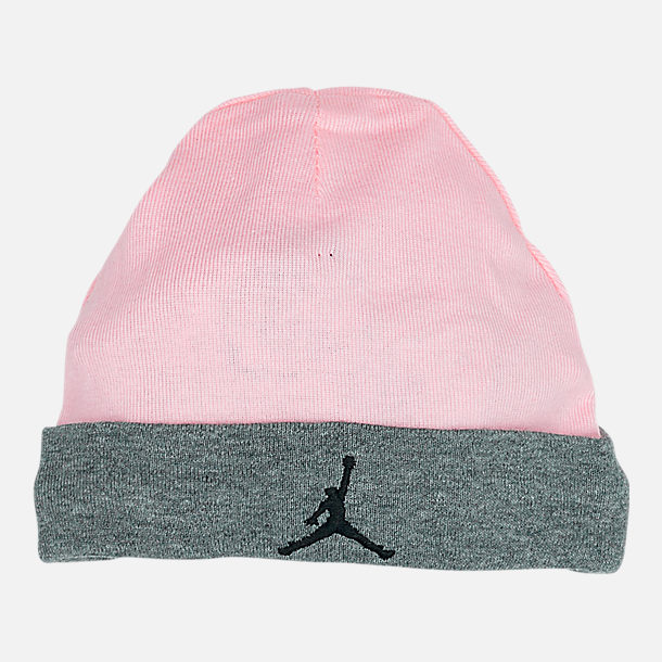 Back view of Infant Nike Hat and Bootie Set in Pink/Grey