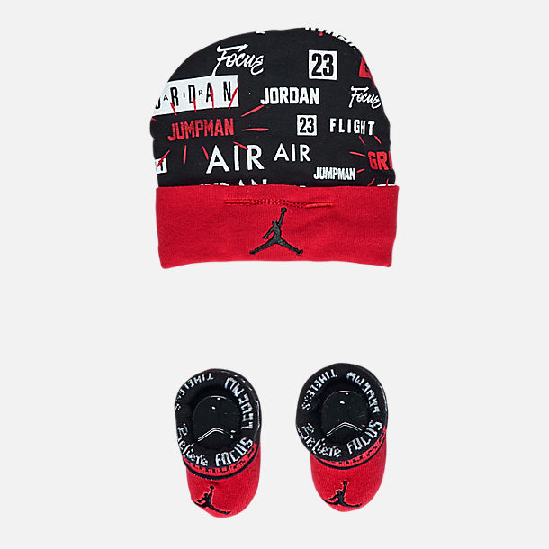 Front view of Infant Air Jordan Greatness Hat and Bootie Set in Red/Black