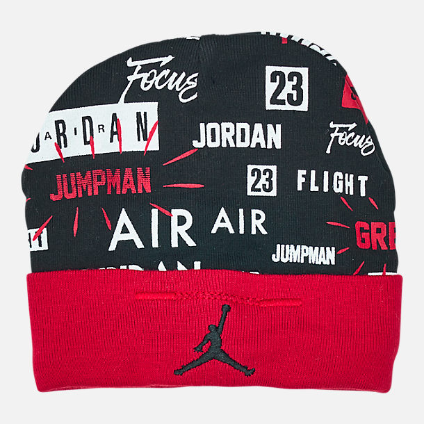Back view of Infant Air Jordan Greatness Hat and Bootie Set in Red/Black