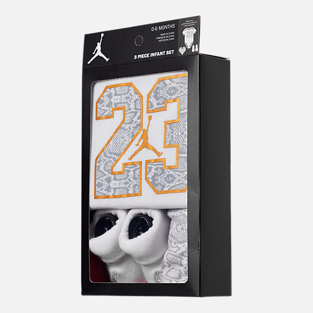 Back view of Infant Air Jordan Always Lethal 3-Piece Box Set in White/Metallic Gold