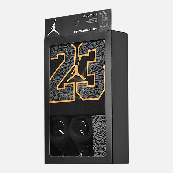 Back view of Infant Air Jordan Always Lethal 3-Piece Box Set in Black/Metallic Gold