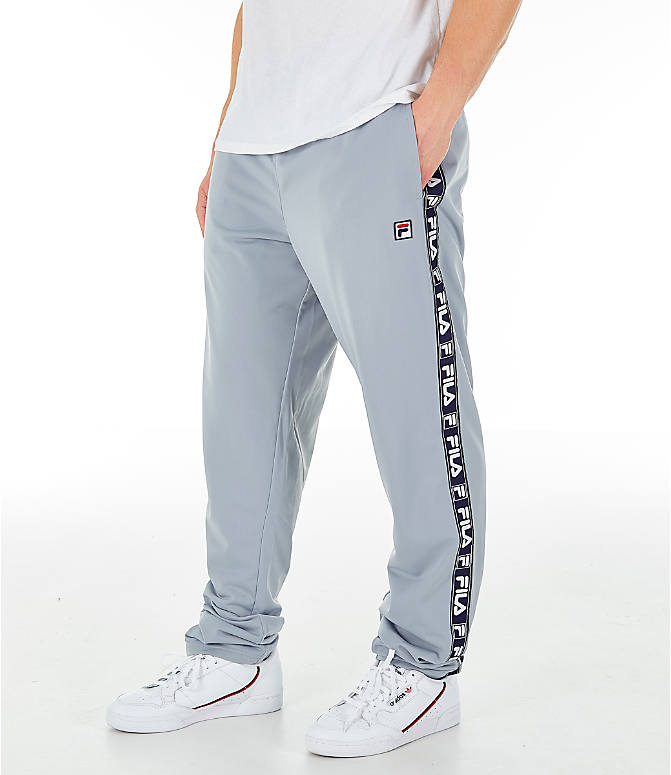 Front view of Men's FILA Tag Tricot Track Pants in Silver