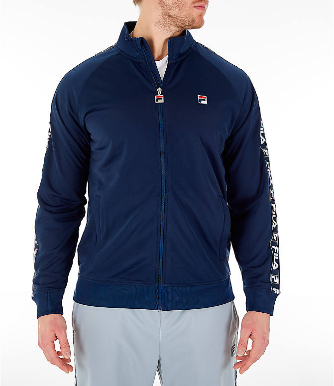 Front view of Men's FILA Tag Tricot Full-Zip Jacket in Navy