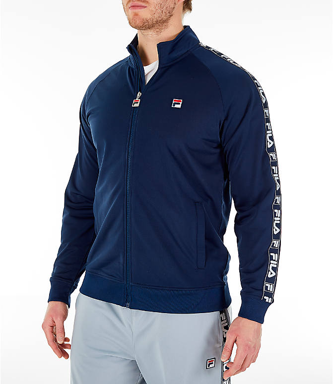 Front Three Quarter view of Men's FILA Tag Tricot Full-Zip Jacket in Navy