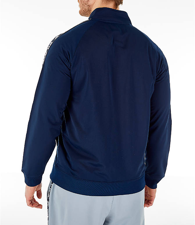 Back Left view of Men's FILA Tag Tricot Full-Zip Jacket in Navy