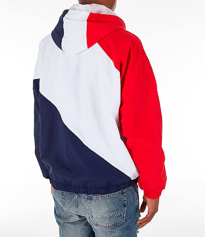 Back Right view of Men's FILA Harrison Half-Zip Nylon Hoodie in White/Red/Navy