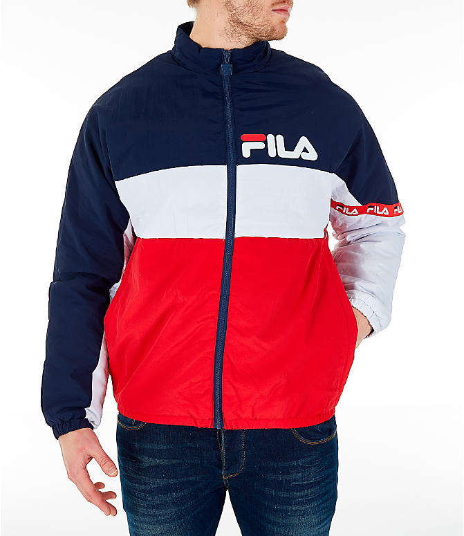 Front view of Men's FILA Jayden Full-Zip Jacket in Red/Navy/White