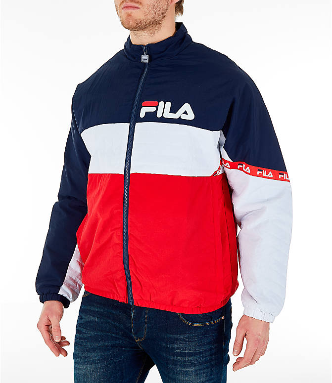 Front Three Quarter view of Men's FILA Jayden Full-Zip Jacket in Red/Navy/White