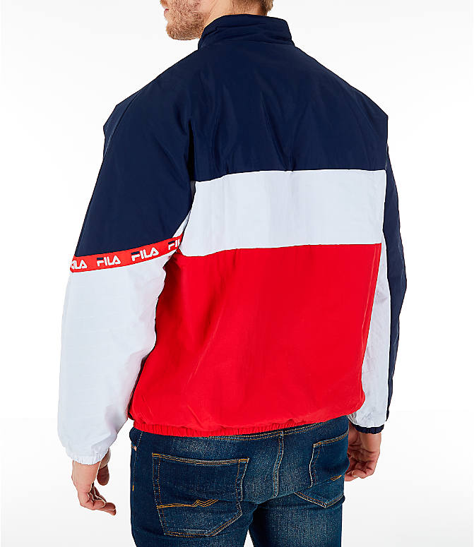 Back Left view of Men's FILA Jayden Full-Zip Jacket in Red/Navy/White