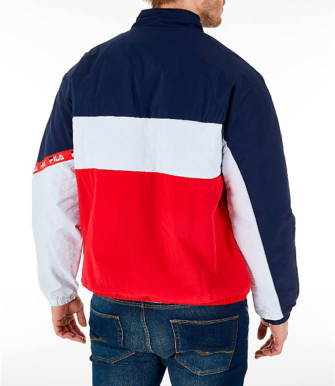Back Right view of Men's FILA Jayden Full-Zip Jacket in Red/Navy/White