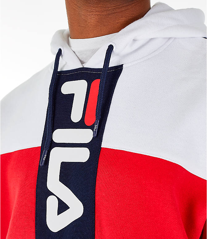 Detail 1 view of Men's FILA Ollie Colorblock Logo Hoodie in Navy/Red/White