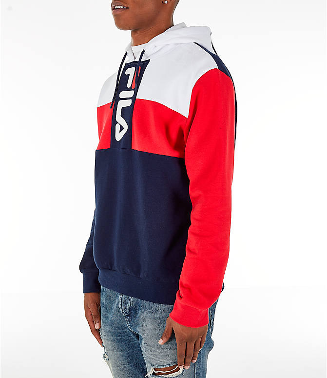 Front Three Quarter view of Men's FILA Ollie Colorblock Logo Hoodie in Navy/Red/White