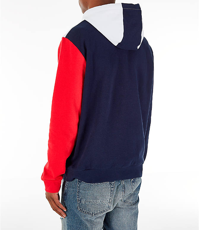Back Left view of Men's FILA Ollie Colorblock Logo Hoodie in Navy/Red/White