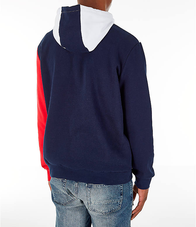 Back Right view of Men's FILA Ollie Colorblock Logo Hoodie in Navy/Red/White