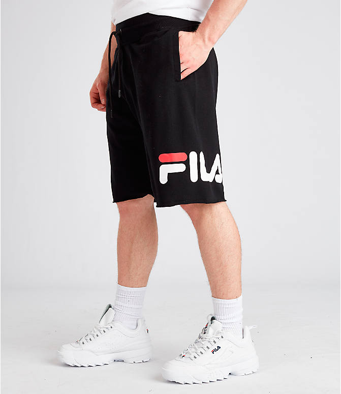 Front view of Men's Fila George Shorts in Black