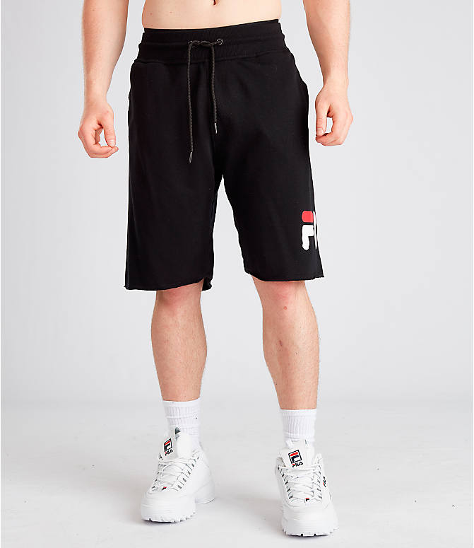 Front Three Quarter view of Men's Fila George Shorts in Black